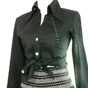 Unique Stylish Black Button Down Shirt Size Small